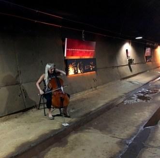 Sarah Hopkins playing cello