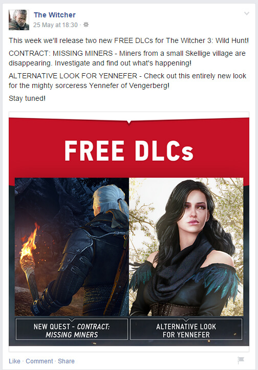 Witcher Facebook post