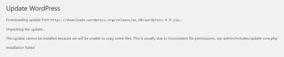 Inconsistent Permission Errors on WordPress Update
