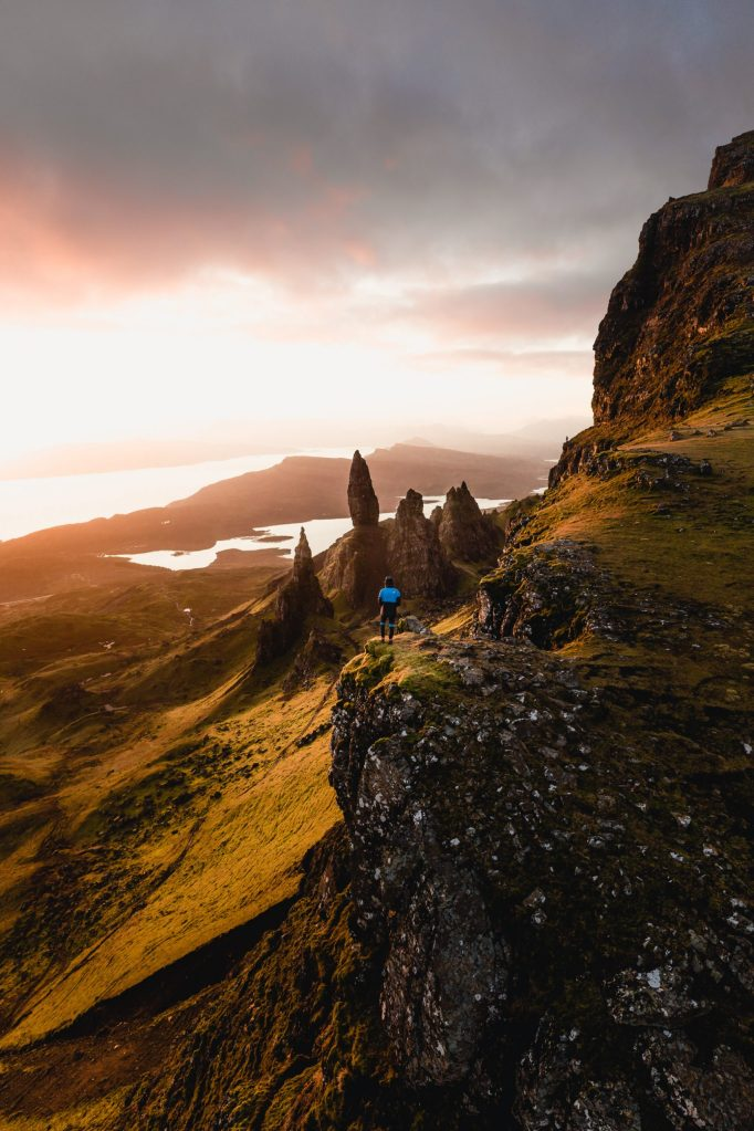 sunrise at old man of storr person