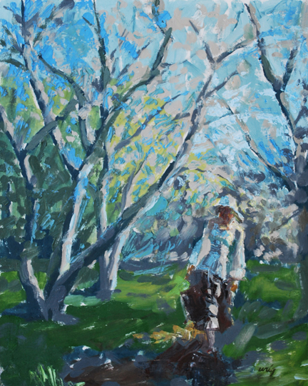 Leisurely Walk 16 inches x 20 inches, oil on canvas