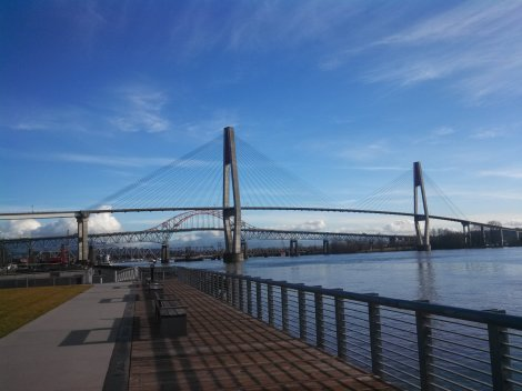 Self-taken: the SkyBridge (SkyTrain rapid transit bridge), with the Pattullo Bridge in the background.