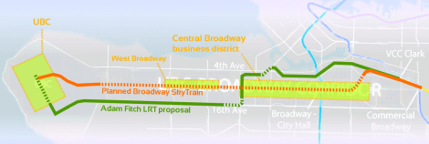 Map outlining LRT proposal by Adam Fitch, planned Broadway SkyTrain and major Broadway business and activity areas.