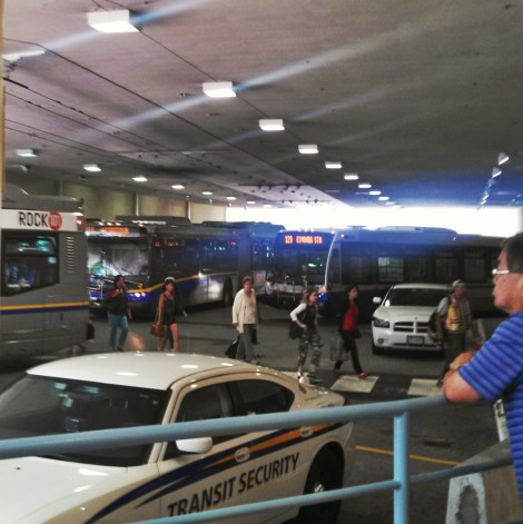 PHOTO: Shuttle buses line up to board passengers at Metrotown