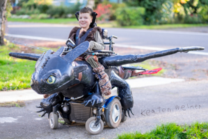 "How fun is this? From ""How To Train Your Dragon!"" The wheelchair powers the costume."