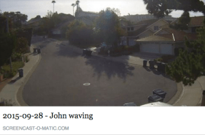 "My friend's husband waves, ""Goodbye"" to her from their garage camera."
