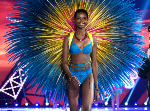 Gorgeous Maria Borges with her natural, short hair and angel wings at the Victoria's Secret Fashion Show.