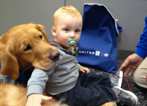 Hard to say which is cuter--the baby or the dog! #UnitedPaws