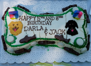 The custom cake we had made for DarlaDog and her friend, Jack, as we celebrated dog birthdays.