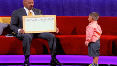 "Comedian Steve Harvey is stumped by 5-year-old math whiz, Luis, on his show, ""Little Big Shots."""