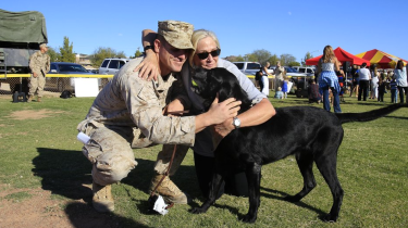 Flight attendant Molli Oliver is dedicated to reuniting military dogs with the veterans they served alongside.