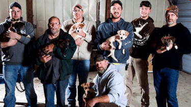 A bachelor party turns puppy rescue mission when a desperate looking mama dog shows up at the front door of a bachelor party in action in the Tennessee woods.