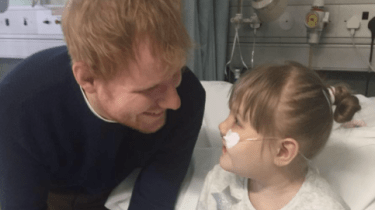 Singer Ed Sheerhan visits 9-year-old Melody Driscoll in the hospital. Melody has Rett syndrome and has spent most of her life in the hospital.