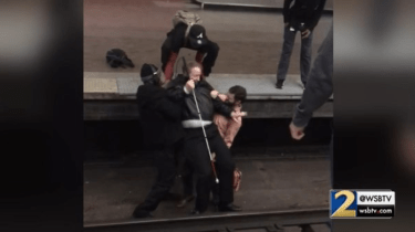 A group of morning MARTA train commuters have a split second to decide what they will do when they see a visually impaired man fall onto train tracks.