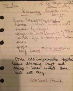 Dear departed grandma leaves behind recipe that three generations of the family has made on holidays.