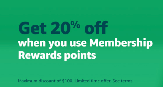 How American Express cardholders can save 20% shopping on Amazon using a single membership reward point.