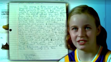 9 year old girl, Riley Morrison, writes a letter to NBA star, Steph Curry, asking why his Curry 5 basketball shoes don't come in sizes for girls.