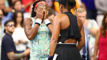 Tennis star Naomi Osaka comforts Coco Gauff after their match at the US Open.
