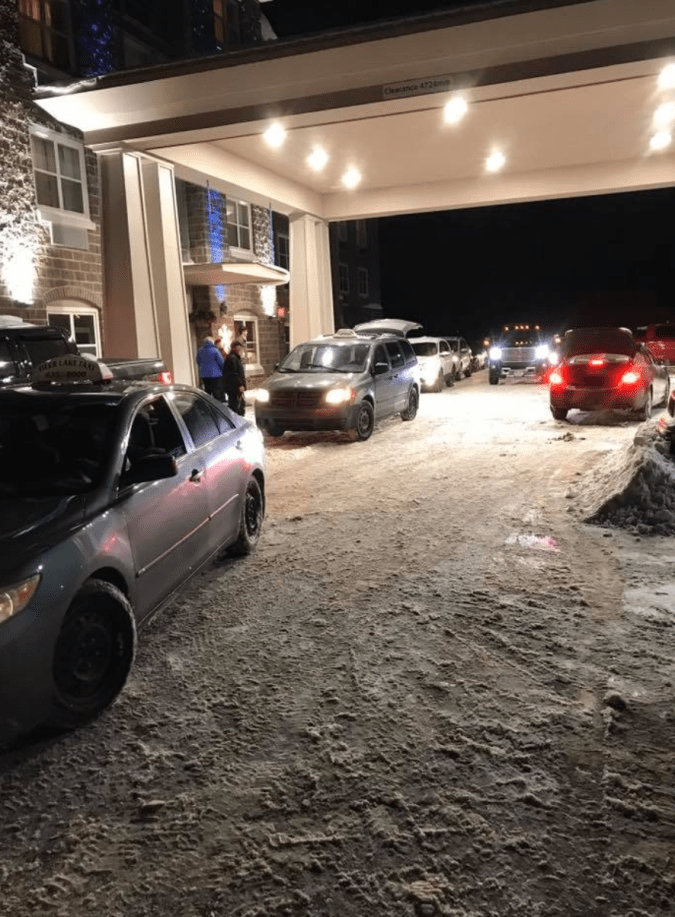 Check out the line of cars that showed up at the Holiday Inn Express in Deer Lake, Newfoundland to take stranded passengers to the airport when a new flight became available.