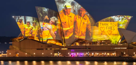 Sydney Opera House lights up to honor heroes and victims of the Australia bush fires.