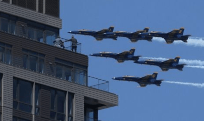 Some places it looked like you could reach up and touch the Blue Angels and Thunderbirds as they flew over New York City Tuesday.