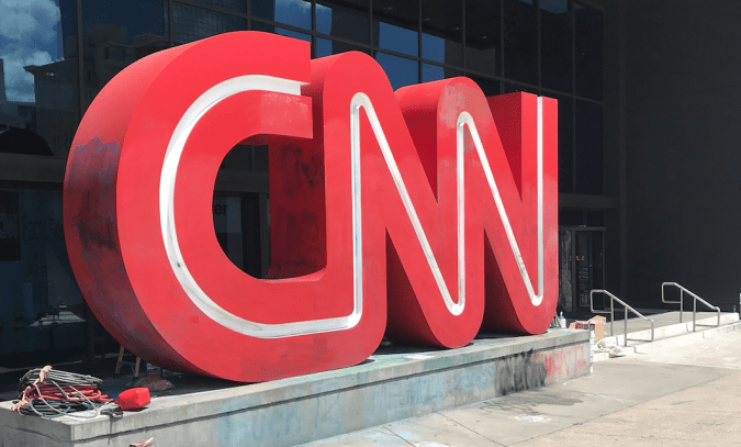 The giant CNN logo looking so much better than last night.