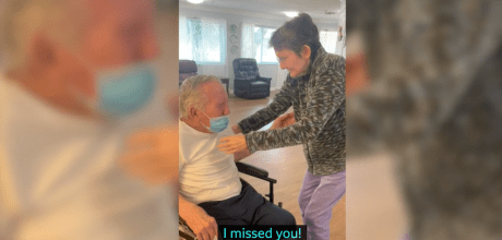 Couple married 60 years have beautiful reunion after 215 days apart.