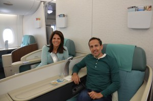 Korean Air First Class A380 Kosmo Suites. KA will not let you use SkyMiles to go First, only Biz. So MCMSH set up Korean Air accounts for us to grab these seats.