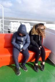 Helgoland - Steife Brise auf dem Schiff