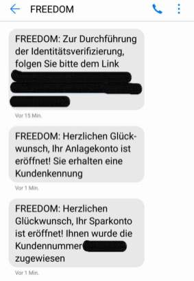Online-Broker Freedom Finance - SMS