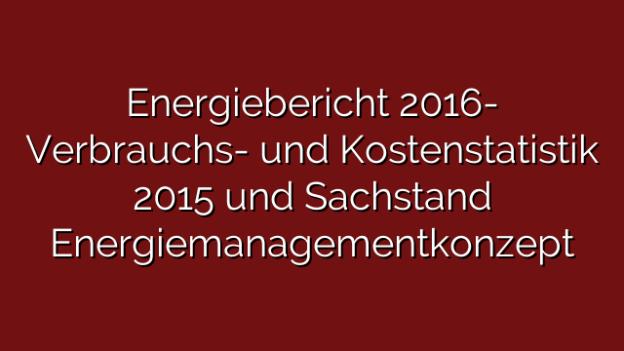 Energiebericht 2016- Verbrauchs- und Kostenstatistik 2015 und Sachstand Energiemanagementkonzept