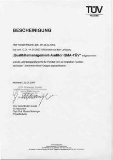 """""""Qualitätsmanagement-Auditor-QMA-TÜV""""-BESCHEINIGUNG, Quelle: Vortex HiFi"""