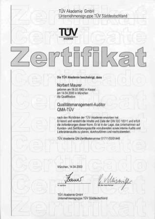 QMA-Zertifikat TÜV-Akademie, Quelle: Vortex HiFi