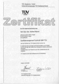 QMF-Zertifikat TÜF-Akademie, Quelle: Vortex HiFi