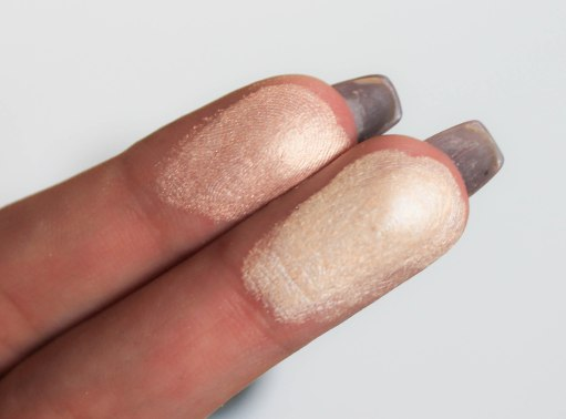 Beam of Light highlighters- swatch 02 and 01