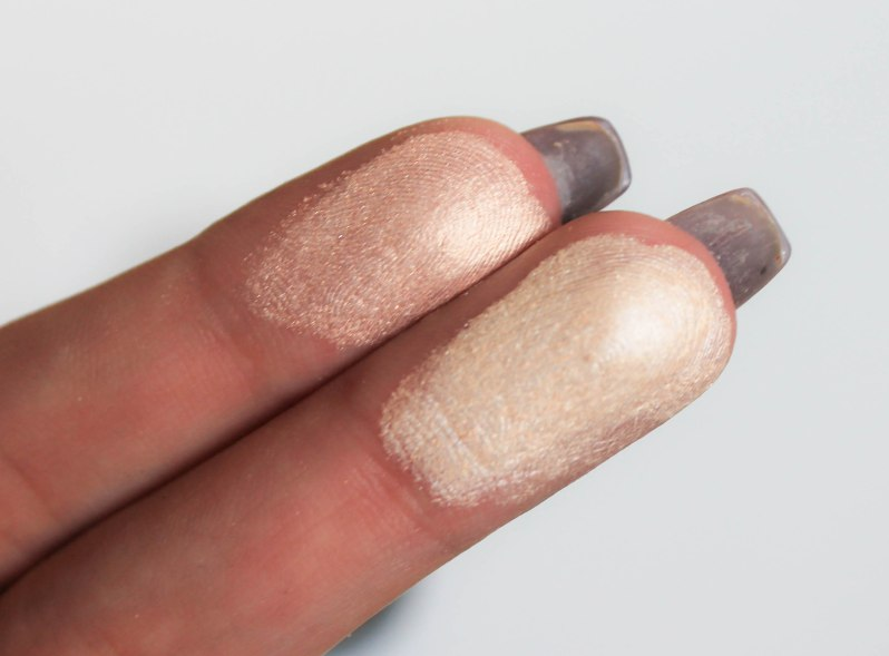 Cream Radiance highlighter- swatch 02 and 01