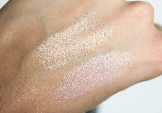Radiant Touch creamy stick highlighters- swatch 100 and 101