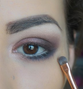 Highlight the inner corner of your eye and apply it also on your lower lash line and blend it with dark eyeshadow; Shade- Foil and on top is Venus from UD Basics; Brush 237