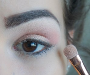 apply glittery coral eyeshadow on your crease and leave the outer corner; Brush- Zoeva 234