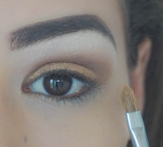 First I applied highlighting colour under my brow bone- Virgin; Sigma E60, Then I applied matte base eyeshadow on my crease- Buck; Zoeva 227 and then I applied this gorgeous glittery gold shade Half Baked on my crease with Sigma E56 brush