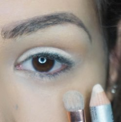use a jumbo eye pencil and apply it with dense brush then on top apply soft shimmery eyeshadow; BLOW with Z 234