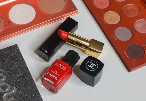 Chanel Le Vernis nail colour 677 Rouge Rubis, Chanel Rouge Allure 84 Flamboyante