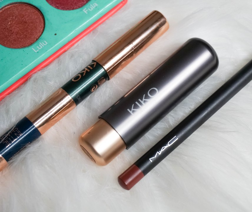 Kiko Milano In Shade kajal 04, MAC Hover lip pen and Kiko Milano matte lipstick 301