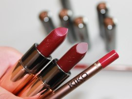 110 Wine- pearly burgundy colour; 128 Marsala- bold wine burgundy colour; 313 Sangria lip liner- bold wine burgundy colour