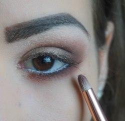 Apply matte brown eyeshadow orange undertone on your lower lash line and blend it; Zoeva 230, 210, apply dark matte eyeshadow in the outer corner really close to your lash line; Sigma E17; 240 and blend it; Zoeva 230