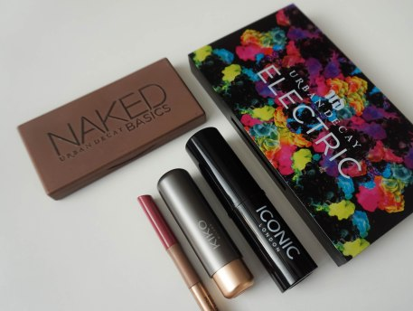 UD Naked Basics and Electric Palette, Iconic London Strobing stick in 'Shine' and KIKO Milano Velvet passion matte lipstick 314 and Evelasting Colour lip liner 413