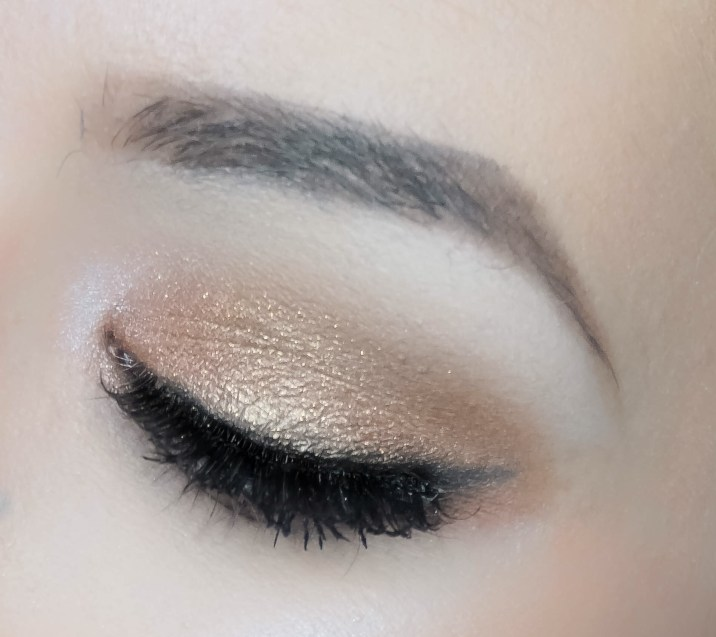 Pick matte black eyeshadow with eyeliner brush (Sigma E65, Creep) and draw a cat eye, make sure it's not intense.
