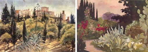 Η αττική φύση της Ακρόπολης (πίνακας του Νικόλαου Ξένου και επιστολικό δελτάριο του 1916, αντίστοιχα)