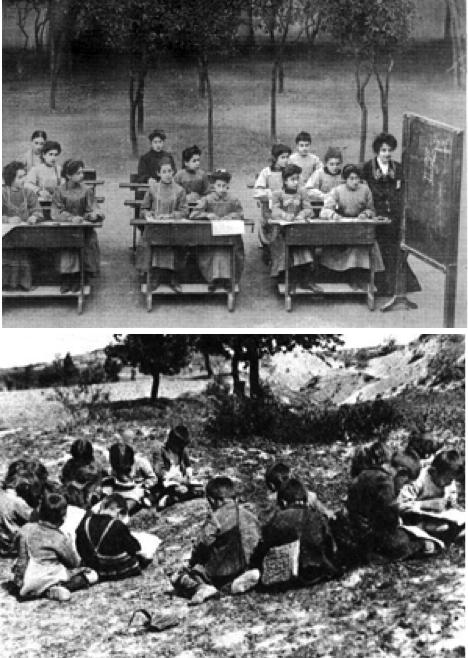 Υπαίθριο σχολείο στην Αμερική (πάνω), κι αντίστοιχο στην Ελλάδα (κάτω). Χαώδης η διαφορά των συνθηκών μάθησης στις δύο περιπτώσεις...