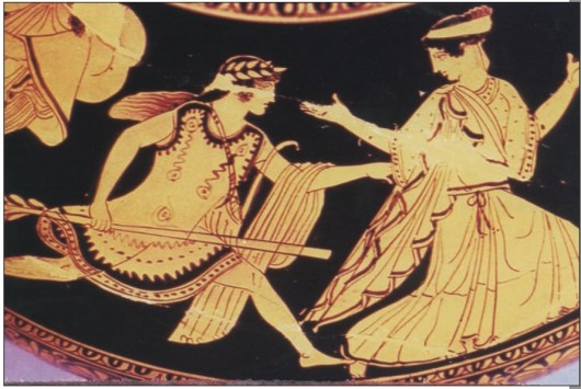 Anna Papamanoli-Guest Αρχαιολόγος-Εθνολόγος Μέλος της εν Αθήναις Αρχαιολογικής Εταιρείας Ο μύθος του άτυχου έρωτα του Απόλλωνα και της μετα- μόρφωσης της ∆άφνης είχε ευρύτατη διάδοση από τον 1ο έως και τον 3ο αι. μ.Χ., αν κρίνει κανείς από τα κείμενα και τις απεικονίσεις, όπως αυτές των ψηφιδωτών της Πάφου. Ήταν όμως γνωστός και απεικονισμένος τουλάχιστον από τον 5ο αι. π.Χ. (εικ. 2). Είναι καταφανές ότι ο μύθος εξηγεί και δικαιολογεί τη 1. Η ∆άφνη μεταμορφώνεται σε δένδρο. Ψηφιδωτό. Πάφος, 3ος αι. μ.Χ. 2. Ο Απόλλων κυνηγά τη ∆άφνη. Βρετανικό Μουσείο, 5ος αι. π.Χ.